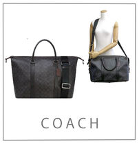 Coach SIGNATURE A4 2WAY Leather Boston Bags