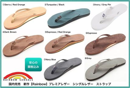 a56d36e13a RAINBOW SANDALS 2019 SS Casual Style Blended Fabrics Leather Flip Flops  Flat Sandals