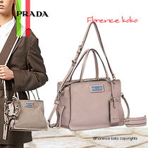 PRADA PRADA ETIQUETTE Calfskin 2WAY Bi-color Plain Elegant Style Handbags