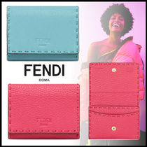 FENDI SELLERIA Plain Leather Card Holders