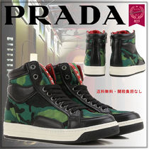 PRADA Camouflage Round Toe Rubber Sole Lace-up Casual Style Unisex
