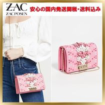 ZAC ZAC POSEN Flower Patterns Plain Leather Elegant Style Shoulder Bags