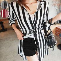 Stripes Casual Style Long Sleeves Long Shirts & Blouses
