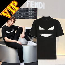 FENDI BAG BUGS Crew Neck Unisex Street Style Plain Cotton Short Sleeves