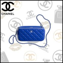 CHANEL Lambskin Chain Party Style Clutches