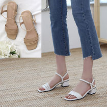 Square Toe Casual Style Faux Fur Plain Chunky Heels Sandals