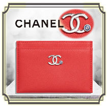 CHANEL Plain Leather Card Holders