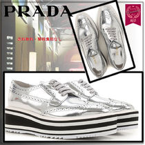 PRADA Stripes Rubber Sole Unisex Blended Fabrics Street Style