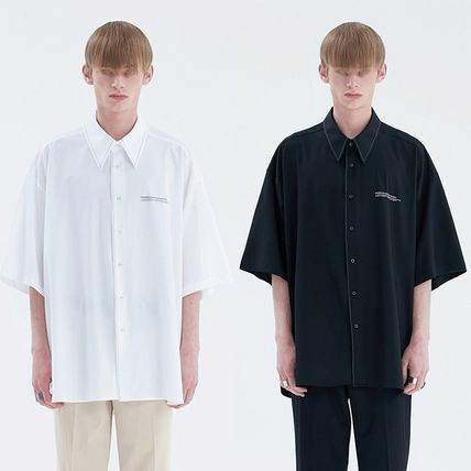 ADD SEOUL Shirts Street Style Plain Short Sleeves Oversized Shirts