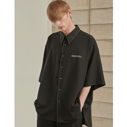 ADD SEOUL Shirts Street Style Plain Short Sleeves Oversized Shirts 2