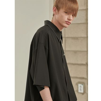 ADD SEOUL Shirts Street Style Plain Short Sleeves Oversized Shirts 3