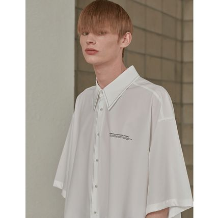ADD SEOUL Shirts Street Style Plain Short Sleeves Oversized Shirts 14