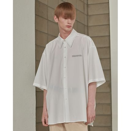ADD SEOUL Shirts Street Style Plain Short Sleeves Oversized Shirts 17