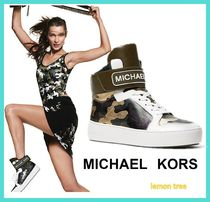 Michael Kors Camouflage Round Toe Rubber Sole Casual Style Leather
