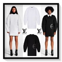 Louis Vuitton Crew Neck Casual Style Blended Fabrics Long Sleeves Plain