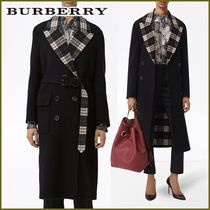 Burberry Other Check Patterns Cashmere Long Elegant Style Coats