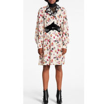 Louis Vuitton Flower Patterns Silk Long Sleeves Dresses