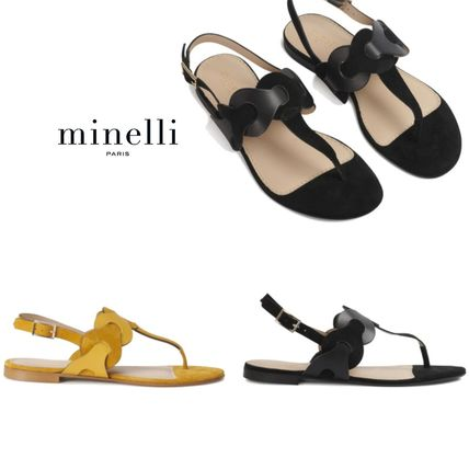 Round Toe Casual Style Plain Leather Block Heels Flip Flops