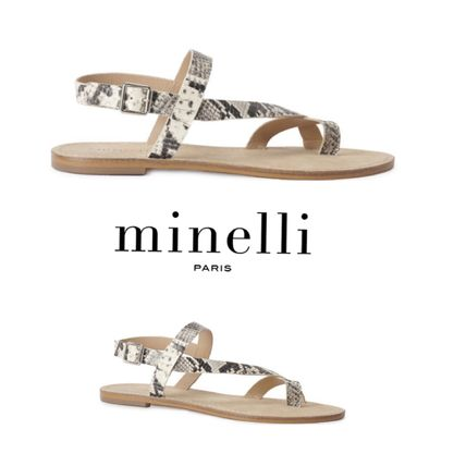 Round Toe Casual Style Leather Block Heels Flip Flops Python