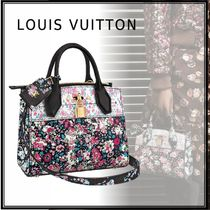 Louis Vuitton CITY STEAMER Flower Patterns 2WAY Bi-color Leather Elegant Style Handbags