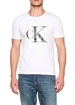 Calvin Klein Crew Neck Crew Neck Plain Cotton Short Sleeves Crew Neck T-Shirts 2