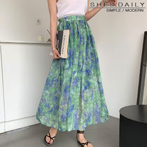 Flared Skirts Paisley Casual Style Long Maxi Skirts