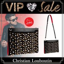 Christian Louboutin Unisex Blended Fabrics Studded Plain Clutches