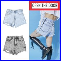 OPEN THE DOOR Short Casual Style Street Style Cotton Denim & Cotton Shorts