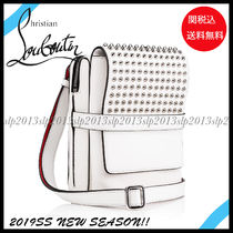 Christian Louboutin Studded 2WAY Plain Leather Messenger & Shoulder Bags
