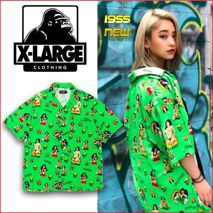 X-Large Shirts Other Check Patterns Unisex Nylon Street Style Short Sleeves