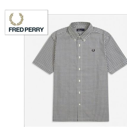 FRED PERRY Shirts Gingham Cotton Shirts