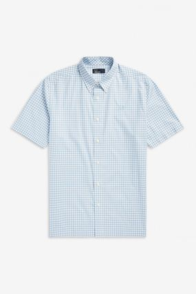 FRED PERRY Shirts Gingham Cotton Shirts 6