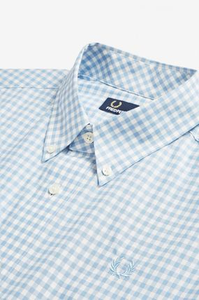 FRED PERRY Shirts Gingham Cotton Shirts 8