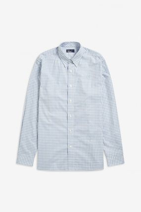 FRED PERRY Shirts Gingham Cotton Shirts 10
