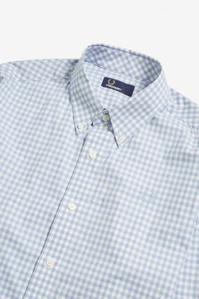 FRED PERRY Shirts Gingham Cotton Shirts 12