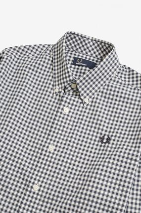 FRED PERRY Shirts Gingham Cotton Shirts 16