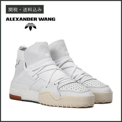Unisex Street Style Collaboration Plain Leather Sneakers