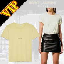 Saint Laurent Unisex Cotton Short Sleeves T-Shirts