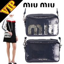MiuMiu Casual Style Plain Leather Shoulder Bags