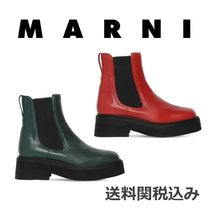 MARNI Square Toe Rubber Sole Sheepskin Blended Fabrics