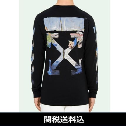 Off-White Long Sleeve Crew Neck Pullovers Stripes Street Style Long Sleeves Cotton