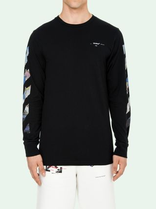 Off-White Long Sleeve Crew Neck Pullovers Stripes Street Style Long Sleeves Cotton 2