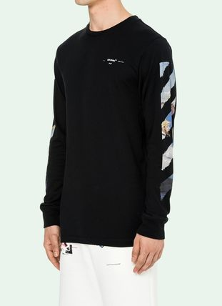 Off-White Long Sleeve Crew Neck Pullovers Stripes Street Style Long Sleeves Cotton 3