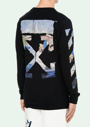 Off-White Long Sleeve Crew Neck Pullovers Stripes Street Style Long Sleeves Cotton 5