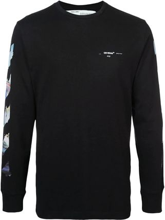 Off-White Long Sleeve Crew Neck Pullovers Stripes Street Style Long Sleeves Cotton 9