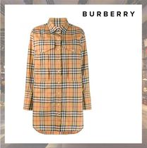 Burberry Gingham Casual Style Long Sleeves Medium Shirts & Blouses