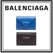 BALENCIAGA PAPIER A4 Unisex Plain Leather Folding Wallets