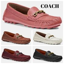 Coach CROSBY Rubber Sole Casual Style Chain Plain Leather Bold Flats