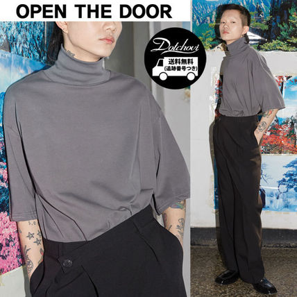 OPEN THE DOOR More T-Shirts Plain Cotton Short Sleeves T-Shirts