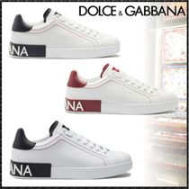 Dolce & Gabbana Blended Fabrics Plain Leather Sneakers